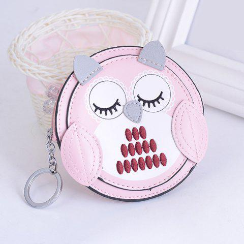 Hot Faux Leather Owl Coin Purse Key Chain PINK