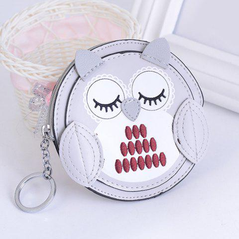 Fashion Faux Leather Owl Coin Purse Key Chain SILVER