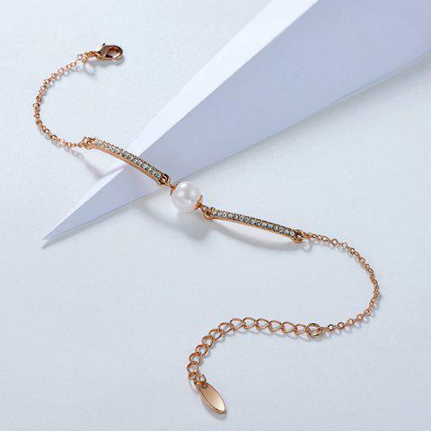 Chic Faux Pearl Gold Plated Rhinestone Bracelet - ROSE GOLD  Mobile