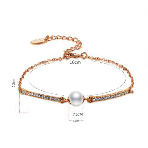 Affordable Faux Pearl Gold Plated Rhinestone Bracelet - ROSE GOLD  Mobile