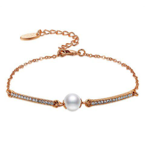 Store Faux Pearl Gold Plated Rhinestone Bracelet - ROSE GOLD  Mobile