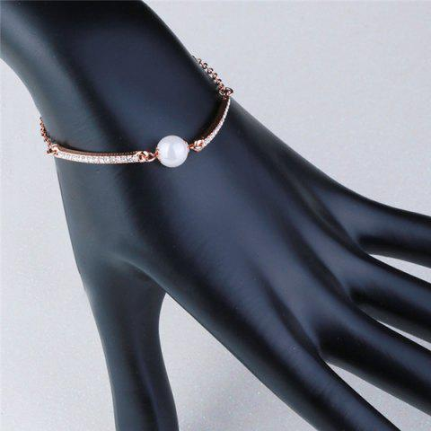 Buy Faux Pearl Gold Plated Rhinestone Bracelet - ROSE GOLD  Mobile