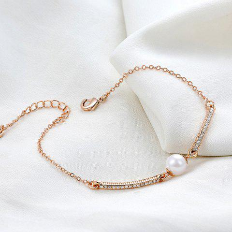 Discount Faux Pearl Gold Plated Rhinestone Bracelet - ROSE GOLD  Mobile