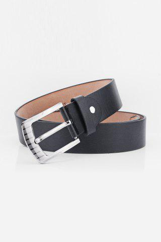 Trendy Pin Buckle Retro Sewing Thread Wide Belt - BLACK  Mobile