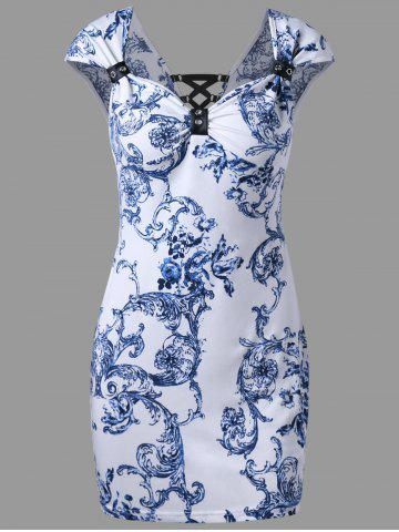Sweetheart Neck Lace Up Bandana Floral Dress - Blue - M