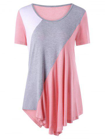 Trendy Asymmetrical Color Block Tunic Top PINK 2XL