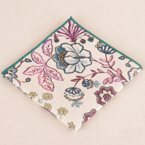 Affordable Hand Painted Flowers Printing Necktie Bowtie Handkerchief - WHITE  Mobile