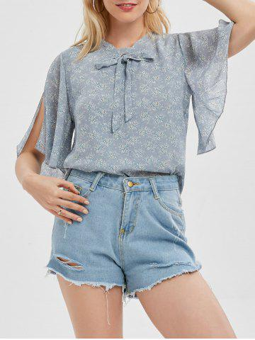 Self Tie Chiffon Tiny Floral Print Blouse