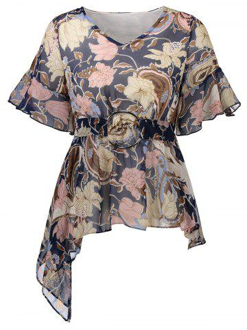 Floral Print Asymmetrical O Ring Design Blouse - Deep Blue - M