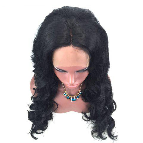 Best Long Wavy Middle Part Lace Front Synthetic Wig - BLACK  Mobile