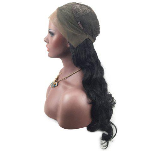 Hot Long Wavy Middle Part Lace Front Synthetic Wig - BLACK  Mobile