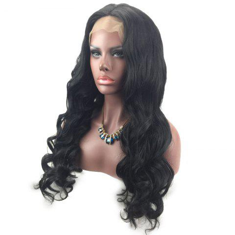 Buy Long Wavy Middle Part Lace Front Synthetic Wig - BLACK  Mobile