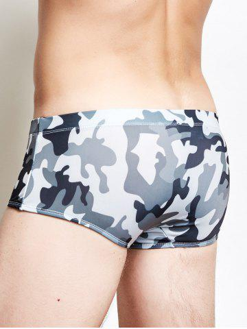 Fashion Camo Print Surfing Swimming Trunks - 2XL CAMOUFLAGE GRAY Mobile