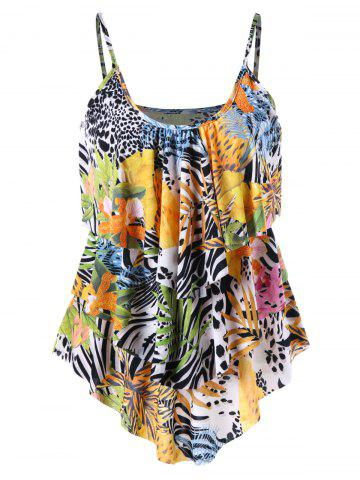 Best Layered Tropical Leaf Cami Top COLORMIX XL