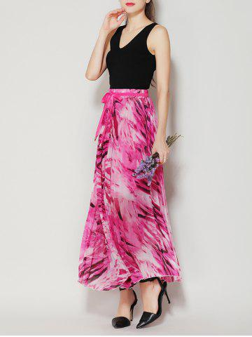 Online High Waist Pleated Midi Skirt with Bowknot - ONE SIZE TUTTI FRUTTI Mobile