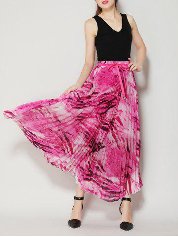 Store High Waist Pleated Midi Skirt with Bowknot - ONE SIZE TUTTI FRUTTI Mobile