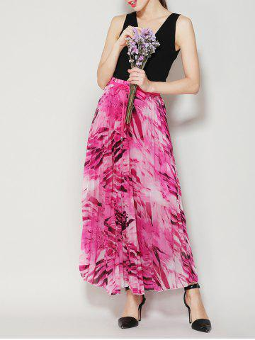 Shop High Waist Pleated Midi Skirt with Bowknot - ONE SIZE TUTTI FRUTTI Mobile