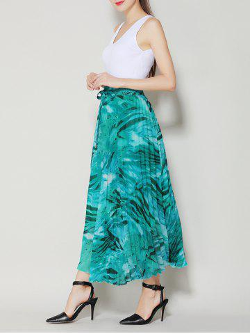Discount High Waist Pleated Midi Skirt with Bowknot - ONE SIZE LAKE GREEN Mobile
