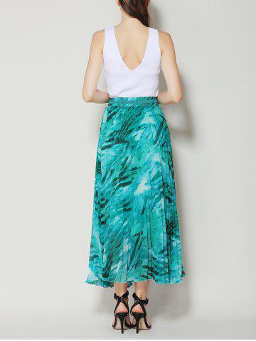 Affordable High Waist Pleated Midi Skirt with Bowknot - ONE SIZE LAKE GREEN Mobile