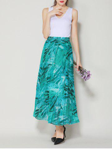 Outfit High Waist Pleated Midi Skirt with Bowknot - ONE SIZE LAKE GREEN Mobile