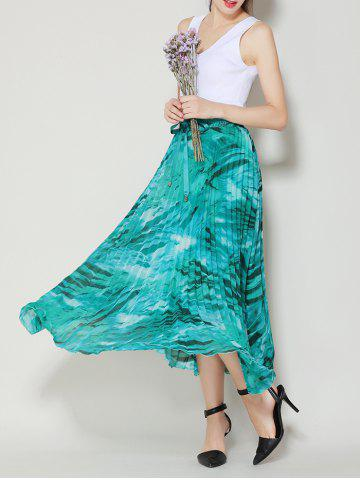Shop High Waist Pleated Midi Skirt with Bowknot - ONE SIZE LAKE GREEN Mobile