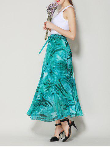 Online High Waist Pleated Midi Skirt with Bowknot - ONE SIZE LAKE GREEN Mobile