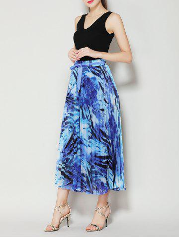 Affordable High Waist Pleated Midi Skirt with Bowknot - ONE SIZE BLUE Mobile