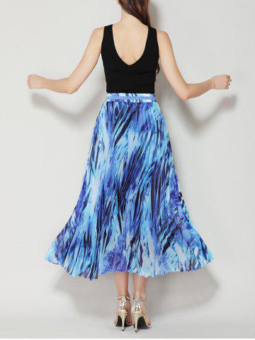 Fancy High Waist Pleated Midi Skirt with Bowknot - ONE SIZE BLUE Mobile