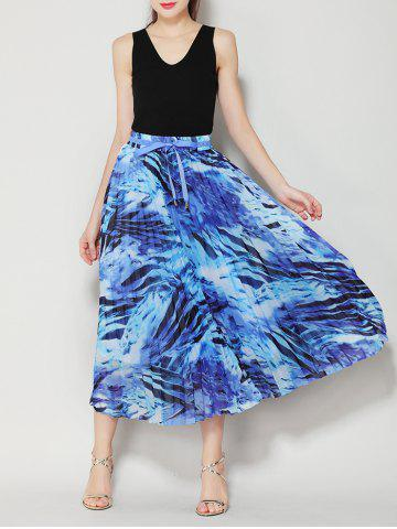 Online High Waist Pleated Midi Skirt with Bowknot - ONE SIZE BLUE Mobile