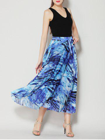 Discount High Waist Pleated Midi Skirt with Bowknot - ONE SIZE BLUE Mobile
