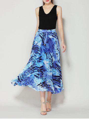 Outfit High Waist Pleated Midi Skirt with Bowknot - ONE SIZE BLUE Mobile