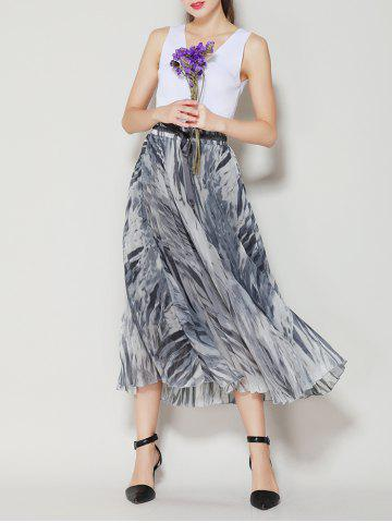Online High Waist Pleated Midi Skirt with Bowknot - ONE SIZE(FIT SIZE XS TO M) GRAY Mobile