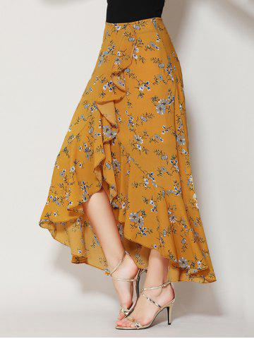 Affordable Tiny Floral Print Asymmetrical Ruffle Long Skirt - S GINGER Mobile