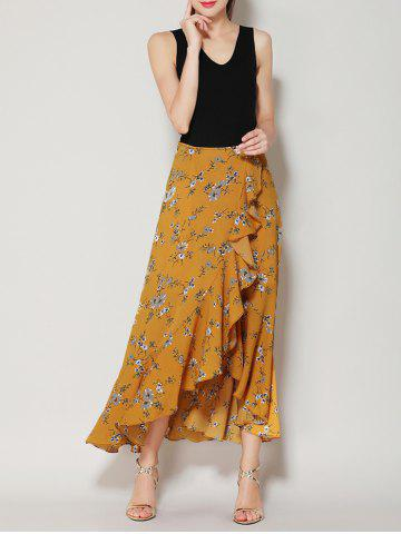 Store Tiny Floral Print Asymmetrical Ruffle Long Skirt - S GINGER Mobile