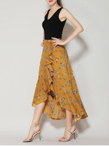 Discount Tiny Floral Print Asymmetrical Ruffle Long Skirt - L GINGER Mobile