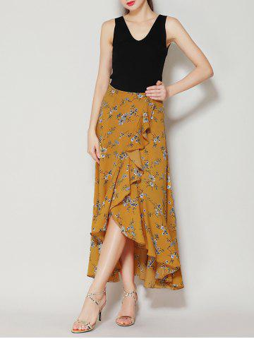 Online Tiny Floral Print Asymmetrical Ruffle Long Skirt - L GINGER Mobile