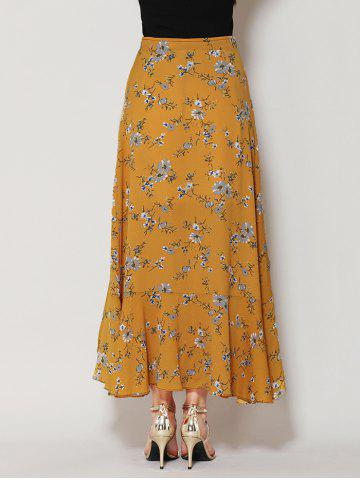 Shops Tiny Floral Print Asymmetrical Ruffle Long Skirt - L GINGER Mobile