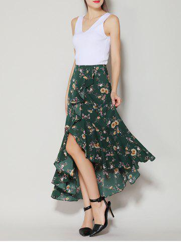Outfits Tiny Floral Print Asymmetrical Ruffle Long Skirt - S DEEP GREEN Mobile