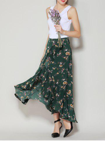 Online Tiny Floral Print Asymmetrical Ruffle Long Skirt - S DEEP GREEN Mobile