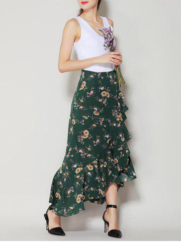 New Tiny Floral Print Asymmetrical Ruffle Long Skirt - S DEEP GREEN Mobile