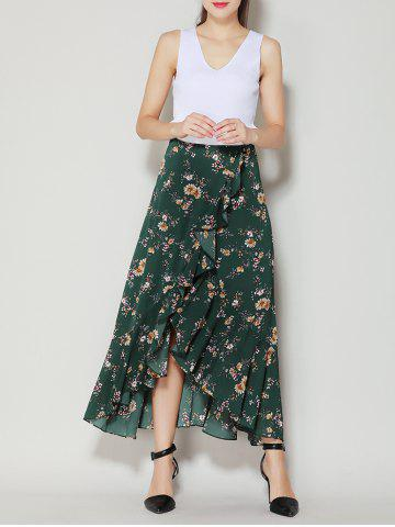 Discount Tiny Floral Print Asymmetrical Ruffle Long Skirt - S DEEP GREEN Mobile