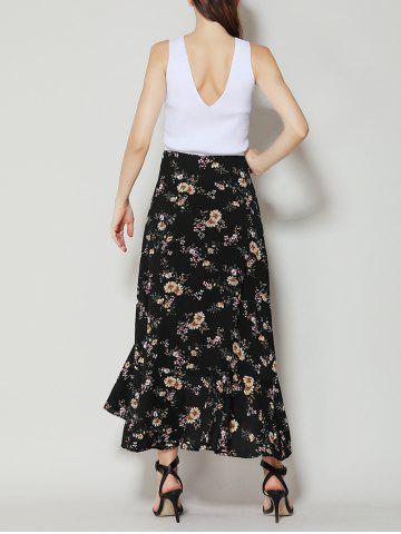 Outfit Tiny Floral Print Asymmetrical Ruffle Long Skirt - M BLACK Mobile