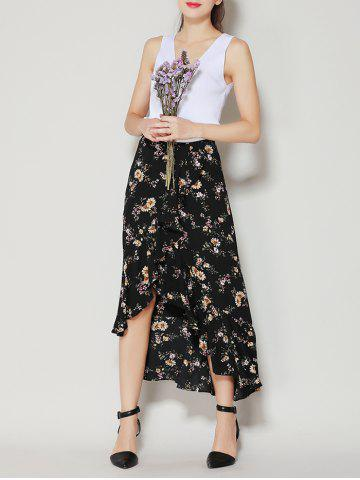 Tiny Floral Print Asymmetrical Ruffle Long Skirt - Black - S