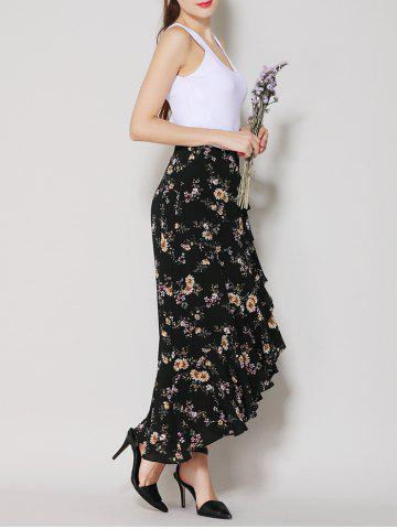 Outfit Tiny Floral Print Asymmetrical Ruffle Long Skirt - S BLACK Mobile