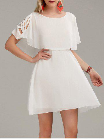 Cheap Ruffle Overlay Chiffon Cold Shoulder Dress - S WHITE Mobile
