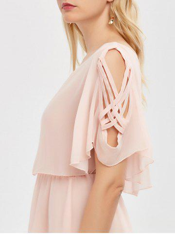 Sale Ruffle Overlay Chiffon Cold Shoulder Dress - 2XL SHALLOW PINK Mobile