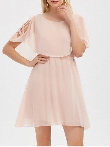 Unique Ruffle Overlay Chiffon Cold Shoulder Dress
