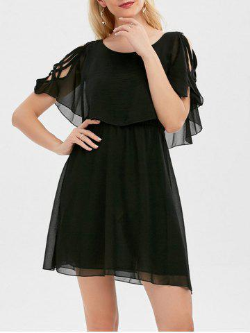 Shop Ruffle Overlay Chiffon Cold Shoulder Dress - XL BLACK Mobile