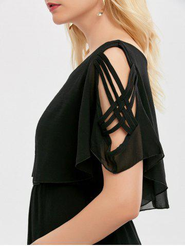 Outfit Ruffle Overlay Chiffon Cold Shoulder Dress - XL BLACK Mobile