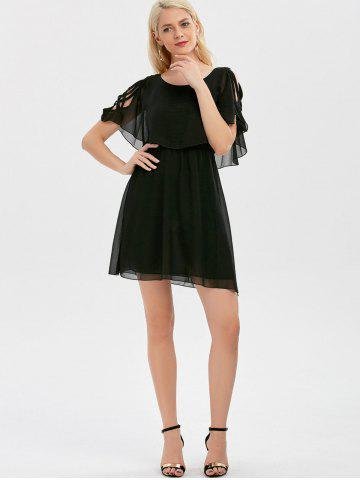 Shops Ruffle Overlay Chiffon Cold Shoulder Dress - XL BLACK Mobile